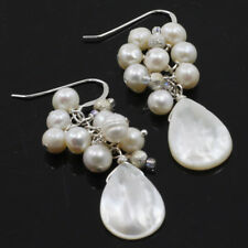 Natural White Mother of Pearl Teardrop Sterling Silver Earring(ER209)a FREE SHIP