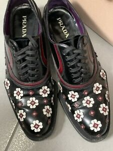 $1350 Prada Runway Polished Spazzolato Flower Appliqué Oxfords 38 Lace Up