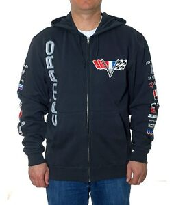 Chevy Camaro Zip Hoodie Jacket Charcoal Grey Colored Logos CAM9S3CLG2CHR
