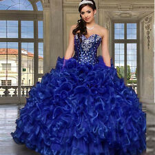 Royal Blue Cheap Quinceanera Dress Sweethert Crystals Vestidos Sweet 16 Dresses