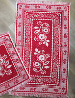 Vintage 60s Red  White Sculpted Floral Bath Hand Towel Set of 2 Lady Pepperell