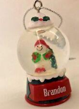 """Red 2"""" Personalized Brandon Snowman Snowglobe Ornament Figurine"""