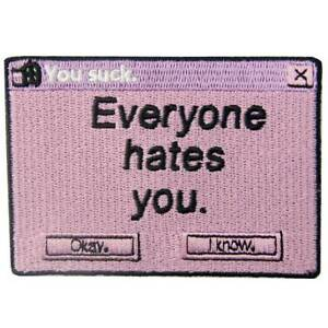 Embroidered Patches Iron Sew On transfers badges applique Rock Everyone hate you