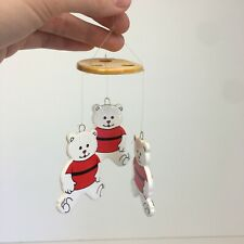 Vintage Mini Teddy Bears Ceramic Wind Chime Both Sides Yellow Orange White Red