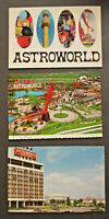 vTg 1968 Astroworld Houston TX 3 Postcard RARE USPO cancel on early opening card