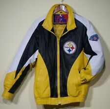 Rare Vtg 90s Pittsburgh Steelers Leather Jacket Pro Player Mens S NFL  Starter 12449d39b