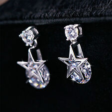 Charm Zircon Crystal Star Silver Plated Ear Stud Earrings Valentine Gift