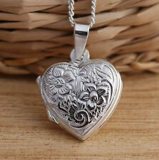 925 Sterling Silver Flower Heart Locket Pendant Necklace Jewellery Box