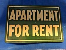 """vintage APARTMENT FOR RENT tin sign....10"""" x 6.5"""".... green"""