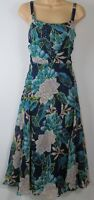 New M&S Per Una floral print Midi Sun dress - Uk size 6 - 22 - Navy/Green