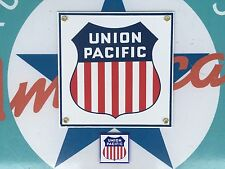 UNION PACIFIC RAILROAD porcelain coated 18 gauge steel sign INCLUDES magnet