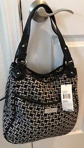 Nine & Co. Women's Black White Hobo Shoulder Bag Purse NEW