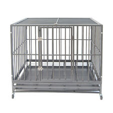 "42"" Gray Heavy Duty Dog Cage Strong Metal Crate Kennel Playpen w/ Wheels&Tray"