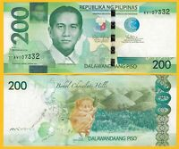 Philippines 200 Piso p-209a 2015 UNC Banknote