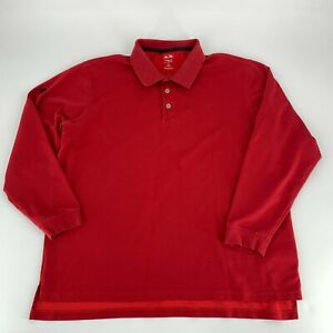 Adidas Mens Climalite Cotton Golf Shirt Size XL Long Sleeve Red Polo Casual