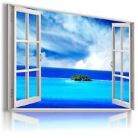PARADISE ISLAND OCEAN SEA 3D Window View Canvas Wall Art Picture W277 MATAGA .