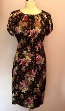 BNWT MARCCAIN BLACK FLORAL PRINT SILK TEA DRESS SIZE N5 UK 14/16