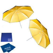 "Phot-R 2x 43"" Black&Gold Reflector Collapsible Umbrella Microfibre Chamois Cloth"