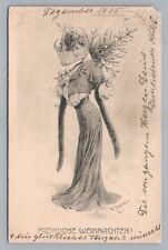Pretty Christmas Tree Woman—Theo Zasche Artist-Signed Antique PC (Corner) 1906