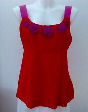 Boden 100% Silk Red & Purple Sleeveless Top Lined Upper Bodice  Size 12