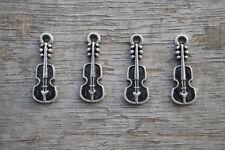 40pcs Guitar Charms Silver Tone mini Guitars Charm Pendants 24x7mm