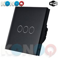 Panel de vidrio de lujo konoq Interruptor de luz LED táctil: Encendido/apagado de WiFi, negro, 3 Gang/1Way