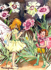 "ACEO 2.5""x3.5""- Pink flower fairy inspired by Cicely Mary Barker"