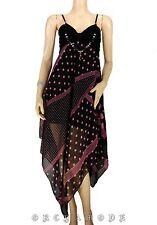 Robe déstructurée T. UNIQUE = 38 40 42 44 46 pois noir rose bijou NEUF Dress été