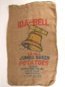 100 LB Burlap Potato Sack Bag Ida-Bell Jumbo Baker Potatoes US No. 1 Dallas TX