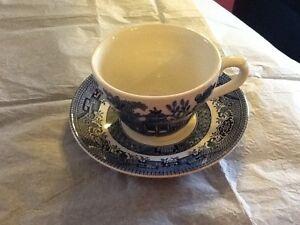 Churchill England Blue Willow Cup & Saucer