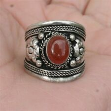 Large Vintage Adjustable Tibetan Agate Gemstone Weaving Dotted Dorje Amulet Ring