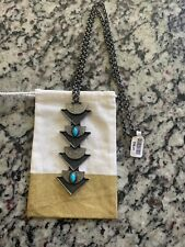Free People Gunmetal Fashion Necklace Turqoise Nwt