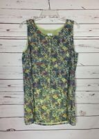 CAbi Women's M Medium Yellow Blue Floral Spring Summer Positano Tunic Top Blouse