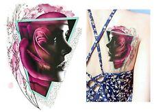 Temporäres Tattoo Dame Rose Blumen Muster Sexy Farbe Lady Girl Mädchen