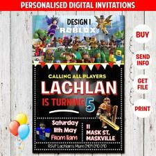 'YOU PRINT' ROBLOX PERSONALISED BIRTHDAY PARTY SUPPLIES INVITES INVITATION NEW