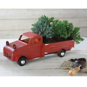 Mud Pie H9 Christmas Tree Farm Rustic Decorative Vintage Tin Truck 7x17in