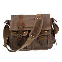 Bag School Messenger Shoulder Bag Men's Vintage Crossbody Satchel Canvas Leather