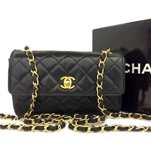 CHANEL Quilted 19 Single Flap CC TurnLock Lambskin Chain Mini Shoulder Bag/B0873