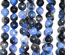 12MM BLUE AGATE GEMSTONE SPIDER WEB BLUE FACETED ROUND 12MM LOOSE BEADS 15""