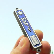 10 Commandment Mezuzah Silver Tone Made in Israel Door Mezuza Hebrew Torah Bible