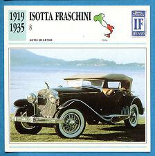 SCHEDA TECNICA AUTO DA COLLEZIONE - ISOTTA FRASCHINI 8 1919-1935