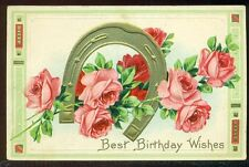 BEST BIRTHDAY WISHES Golden Horseshoe Pretty Pink Roses Vintage Postcard
