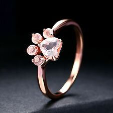 1.5Ct Heart Cut Pink Bear Paw Unique Engagement Ring 14K Rose Gold
