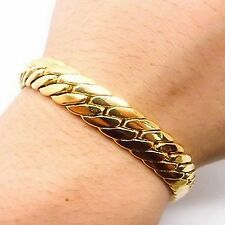 "Herringbone 9"" 18Carat Gold Plated Bracelet Father's Day Birthday Valentine Gift"