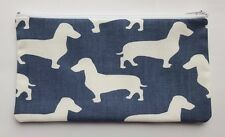 Dachshund Sausage Dog Blue Fabric Handmade Make Up Bag Pencil Case Storage Pouch