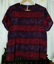 WOMENS Sz XL purple & red floral tunic LOVELY! SHOULDER PADS!