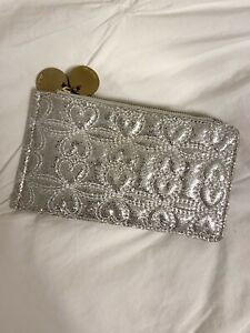 Nordstrom Deux Lux Small Silver Quilted Heart Faux Leather Clutch W/ Dust Bag