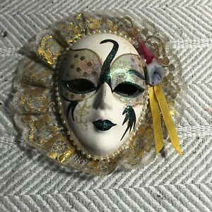 Gold Lace Trimmed Handpainted Ceramic Mask