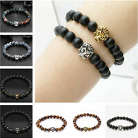 Gold&Silver Lion Beaded Cuff Charm Bangle Bracelet Black Lava Natural Stone Men