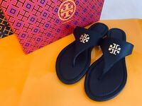 Tory Burch NIB Jolie Flat Thong Sandals Gold T Logo Tumbled Leather PERFECT NAVY
